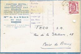 CP Publicitaire WASSEIGES 1948 - Mme G. SAMBON Et Fils - Chauffage Central, Installations Sanitaires... - Wasseiges