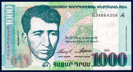 ARMENIA ARMENIE ARMENIEN 1000 DRAM PICK 50b PREFIX: Թ POET Y. CHARENTS OLD EREVAN TOWN VIEW 2001 UNC - Armenia
