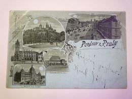 TCHEQUIE  -  POZDRAV Z  PRAHY  -  Carte Multivue à La Lune   1901  X - Czech Republic