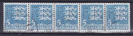 Denmark Perfin Perforé Lochung (F26) 'FK.' Frederiksberg Kommune, København Wappenlöwe 5-Stripe !! (2 Scans) - Abarten Und Kuriositäten