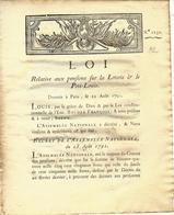 1791 REVOLUTION AIDE AUX  PERSONNES NECESSITEUSES LOTERIE ROYALE  SAINT MALON PORT LOUIS VOIR SCANS - Décrets & Lois
