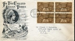 38220 U.s.a. Fdc 1948  Centennial Five Civilized Indian Tribes,cherokee,creek,seminole,chickasaw,oklahoma - American Indians