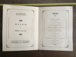 COMPAGNIE GENERALE TRANSATLANTIQUE GRASSE MENU 1938 Croisière SPITZBERG SOLEIL ROYAL TOURVILLE - Collections