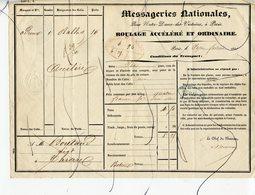 Lettres De Roulage Ordinaire Et Accéléré. PARIS . Messageries Nationales . - Historical Documents