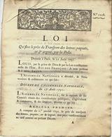 1791 RARE  REVOLUTION FIN DU BAIL DES FERMES MONOPOLE DE LA POSTE à L'ETAT PREMIER TARIF POSTAL    VOIR SCANS - Décrets & Lois