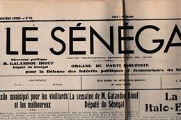 Le Sénégal - 17.10.1935 - Journal De Dakar De G Diouf - Guerre Italie Ethiopie - Newspapers