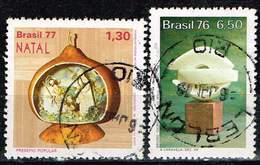 "Brasilien 1976/77,, Michel# 1626, 1573, 1611 O Christmas, ""The Caravel"" (B. Giorgi), Coffee Harvester - Brazil"