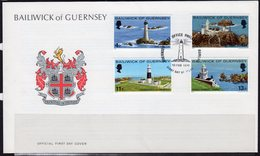 Guernsey 1976 Lighthouses FDC, MNH, SG 135/8, Ref. 69 - Lighthouses