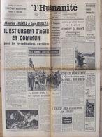 Journal L'Humanité (8 Avril 1958) Pour Les Revendications Ouvrières - Routes Mortelles Pour Pâques - D Bouhired - Newspapers