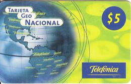 ARGENTINA - American Map, Tarjeta Geo Nacional, Telefonica Recharge Card $5(plastic), 01/00, Used - Argentina