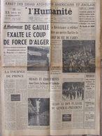 Journal L'Humanité (23 Août 1958) Arrêt Essais Atomiques - De Gaulle Madagascar - Cérémonies De La Libération - Newspapers