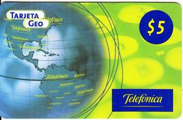 ARGENTINA - American Map, Tarjeta Geo, Telefonica Recharge Card $5(plastic), 11/00, Used - Argentina