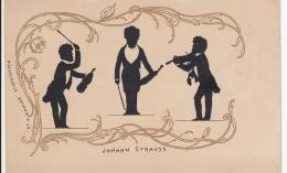 AK- Scherenschnitt (Silhouette) Johann Strauss - 1900 - Silhouette - Scissor-type