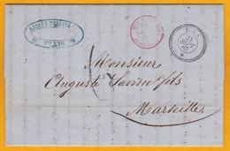 1867 - LAC De 2 P En Italien De Tunis (avant Protectorat Français) Vers Marseille Via Convoyeur Maritime Tunis Par Bône - Postmark Collection (Covers)