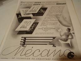 ANCIENNE PUBLICITE RADIATEUR MECANO   1941 - Other