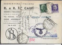 STORIA POSTALE REGNO - CARTOLINA INTESTATA SUGHERO DA CASALE MONFERRATO 20.05.1942 PER RUSTSCHUK (BULGRIA) - CENSURA - 1900-44 Vittorio Emanuele III