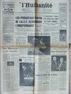 Journal L'Humanité (25 Août 1958) Partis De L'A.E.F/Indépendance - Conquête De L'Espace - Mort Roger Martin Du Gard - Newspapers