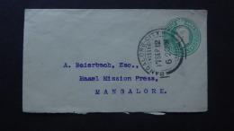 INDIA POSTAL COVER KEVII POSTMARK BANGLORE CITY/MANGALORE 1912 - Ohne Zuordnung