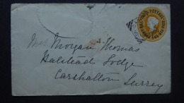 INDIA POSTAL COVER QV POSTMARK RANGOON CANT/RANGOON/BOMBAY/CARSHALTON [LONDON] 1892 - Sin Clasificación