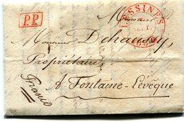 Precurseur LESSINES Cad Rouge Type 14-Fontaine L'Eveque 1838 Taxé 3 Au Verso + Franco - 1830-1849 (Belgique Indépendante)