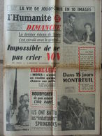 Journal L'Humanité Dimanche (24 Août 1958) Vie De Joliot-Curie - Mona - Les Français Battent Les Springboks - Newspapers
