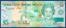 CAYMAN ISLANDS 5 DOLLARS PICK 39a QUEEN ELIZABETH II TURTLE BIRD PARROT 2010 UNC - Kaimaninseln