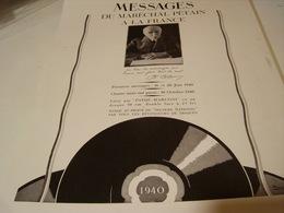 ANCIENNE PUBLICITE DU MARECHAL PETAIN DISQUES PATHE 1940 - 1939-45