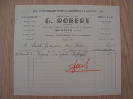 FACTURE G. ROBERT HORLOGERIE MONTARGIS 1937 - 1900 – 1949
