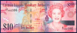 CAYMAN ISLANDS 10 DOLLARS PICK 40a QUEEN ELIZABETH II UNDERWATER FAUNA CRAB FLOWER BANANA ORCHID 2010 UNC - Kaimaninseln