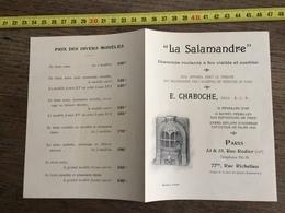 FLYERS ENCART FEUILLET PUBLICITAIRE 1900 CHEMINEE LA SALAMANDRE CHABOCHE - Collections