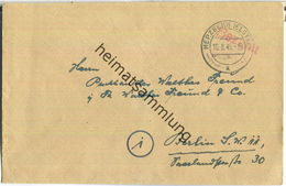 Postkarte Aus Herzberg (Elster) Vom 10.08.1945 Mit 'Bezahlt' Stempel B16g In Rot - Zone Soviétique