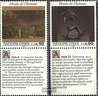 UN - Geneva 223-224 With Zierfeld (complete Issue) Unmounted Mint / Never Hinged 1992 Human Rights - Geneva - United Nations Office