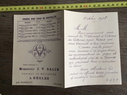 FLYERS ENCART FEUILLET PUBLICITAIRE 1908 VINS BORDEAUX CHATEAU DE BELLEVUE BEGLES SALIN - Collections