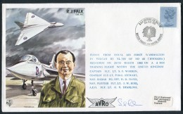 1982 GB RAF BFPS Test Pilot Signed Flight Cover. RJ Falk, Rhodesia Waddington Vulcan Cosford - Covers & Documents