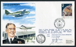 1984 GB RAF BFPS Test Pilot Signed Flight Cover. E.M. Brown, Navel Staff College, Fairey Swordfish. Bomber Command - 1952-.... (Elizabeth II)