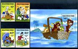 A20350)Disney: Turks + Caicos-Inseln 532 - 535** + Bl 30** - Disney