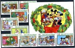 A20352)Disney: Turks + Caicos-Inseln 610 - 618** + Bl 41** - Disney