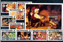 A20353)Disney: Turks + Caicos-Inseln 503 - 511** + Bl 25** - Disney