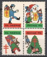 Postman Dog Snowman Sledge 1974 USA - CHRISTMAS - Tuberculosis NTA Charity Stamp Label Cinderella Vignette MNH - United States
