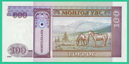 100 Tugrik - Mongolie - 1993 - N°. AD3206141 -   Neuf - - Mongolie