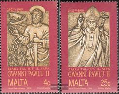Malta 841-842 (complete.issue.) Unmounted Mint / Never Hinged 1990 Pope - Malta