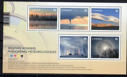 CANADA, 2018, MNH, WEATHER WONDERS, TREES, MOUNTAINS, MOON HALO, LIGHT PILLARS,  SHEETLET - Climat & Météorologie