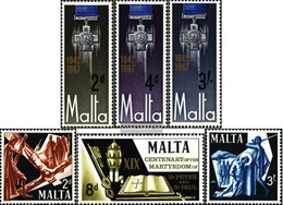 Malta 350-352,353-355 (complete.issue.) Unmounted Mint / Never Hinged 1967 George-Cross, Holy Peter+Paul - Malta