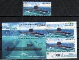 INDIA, 2017, MNH, SUBMARINES, FIRST SUBMARINE BUILT IN INDIA, SHARKS, 1v+SHEETLET - Sous-marins