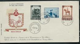 FDC Des N° 938/40 Obl. Bruxelles-Brussel 1  Le 17/02/54  Souvenir  ; Reconnaissance Au Roi Albert - 1951-60