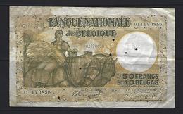 "50 Frank - Francs = 10 Belgas  -  M 42 - Type ""1927"" Anto-Carte (oker) - [ 2] 1831-... : Royaume De Belgique"