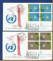ITALIA - FDC 1970 -  RACCOMANDATE Con Bollo Arrivo - ONU - NAZIONI UNITE - 1946-.. République