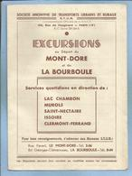 Le Mont-Dore (63) Rue Favart & La Bourboule (63) Bd Georges-Clemenceau S.T.U.R. Excursions 2 Scans - Dépliants Touristiques