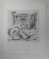 Ex-libris Illustré Belgique XXème - H.M. DEWEZ - Couple Allongé S'embrassant Par JAEGHER - Bookplates