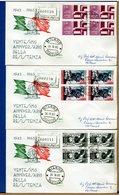 ITALIA - FDC 1965 - TUTTE RACCOMANDATE Con Timbro Di Arrivo - ANNIVERSARIO RESISTENZA - F.D.C.